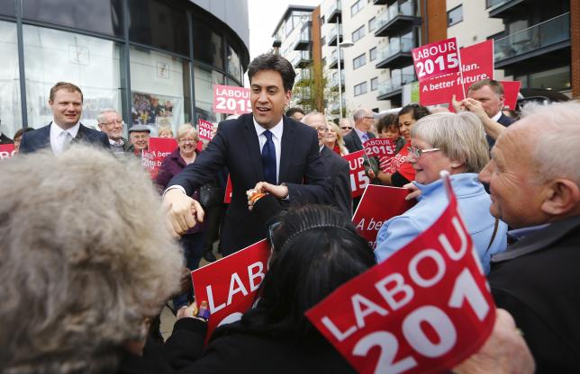 Britain's opposition Labour Party leader Miliband arrives at a campaign event in Ipswich, eastern England
