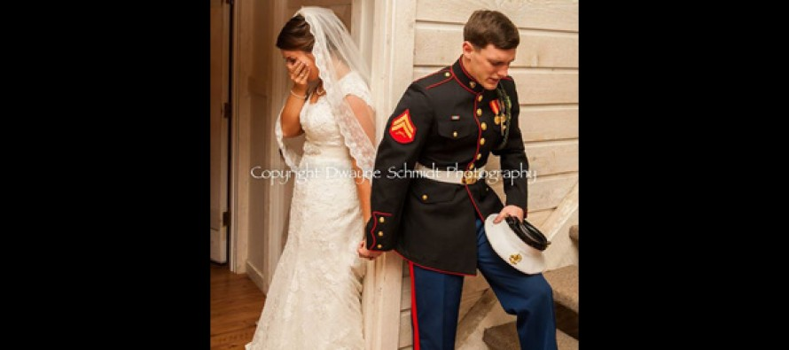 The Amazing Photo of a U.S. Marine and His Bride Moments Before Their Wedding That's Going Viral