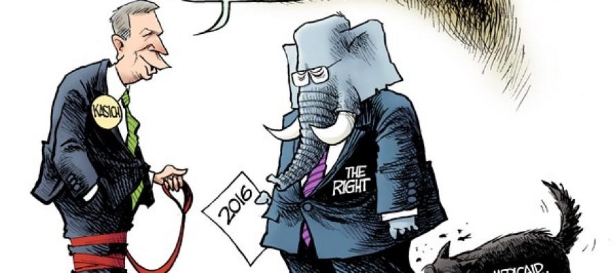 Kasich Courts Conservatives (Cartoon)