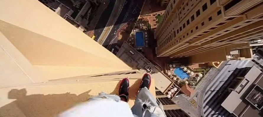 VIDEO: Freerunner Amazes Everyone When He Jumps from Pillar to Pillar on the 43rd Floor of a Dubai Hotel with No Safety Net