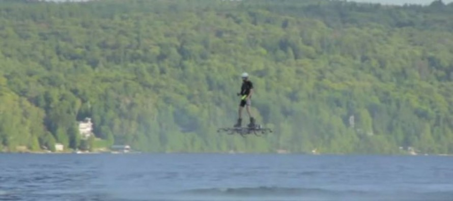 VIDEO: The future is here! Watch a 1000 Foot HOVERBOARD Flight Over a LAKE!