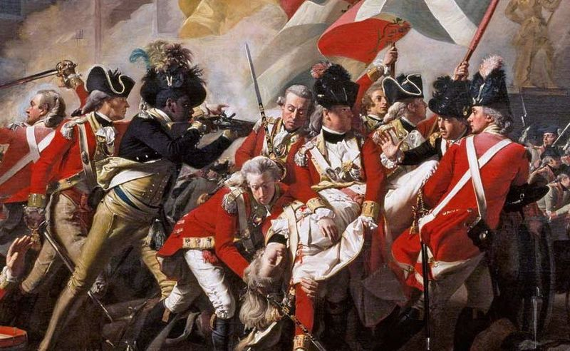 John Singleton Copley depicts a black loyalist soldier in The Death of Major Peirson.