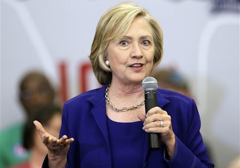Democratic presidential candidate Hillary Rodham Clinton speaks during a campaign stop at the Iowa City Public Library, Tuesday, July 7, 2015, in Iowa City, Iowa. (AP Photo/Charlie Neibergall)