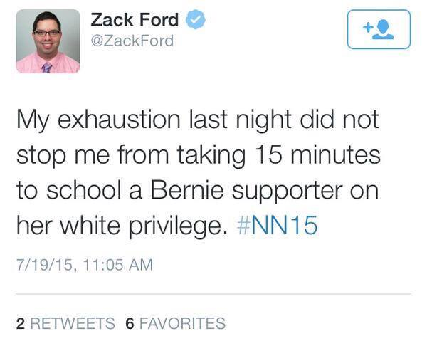 A typical tweet from a Netroots Nation attendee. Who is white.
