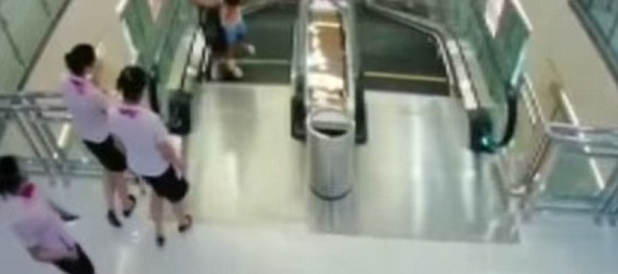 Mother Throws Infant Son To Safety, Seconds Before She Was Dragged To Her Death Into Collapsing Escalator