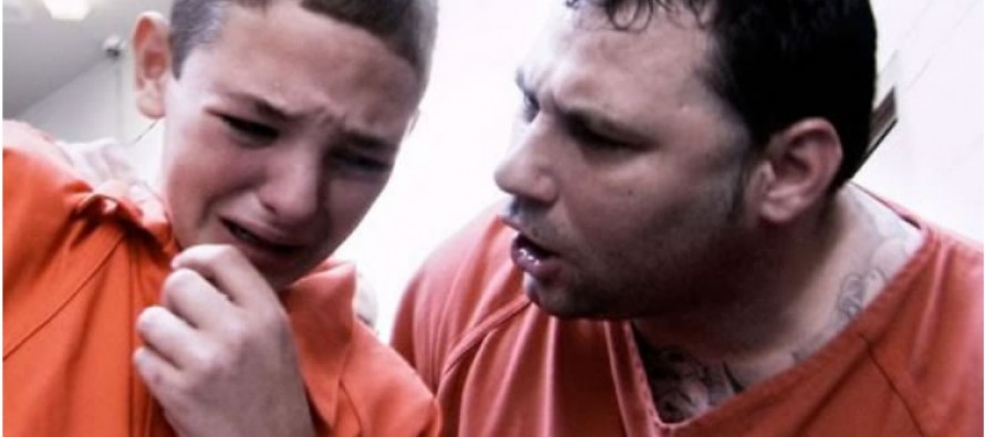 Confronted by an inmate in prison, rebellious 13-year old cries like a baby for his mama