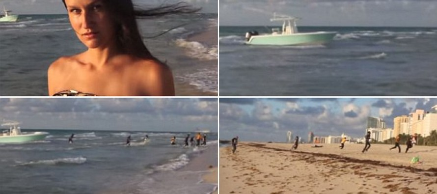 Illegal Immigrants Interrupt a Model's Miami Beach Shoot as They Jump From a Boat and Storm Towards the Shore