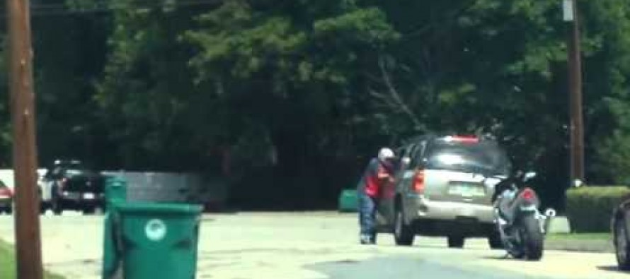 VIDEO: Guy Picks a Fight While Wearing a Motorcycle Helmet. Other Guy Has a Solution for That.