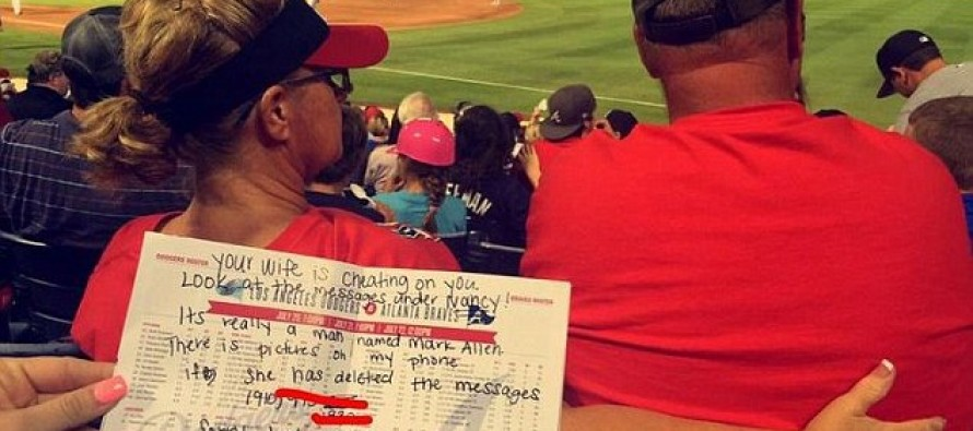 Atlanta Braves fans view man's wife sexting another man at game; hand her husband a note telling him