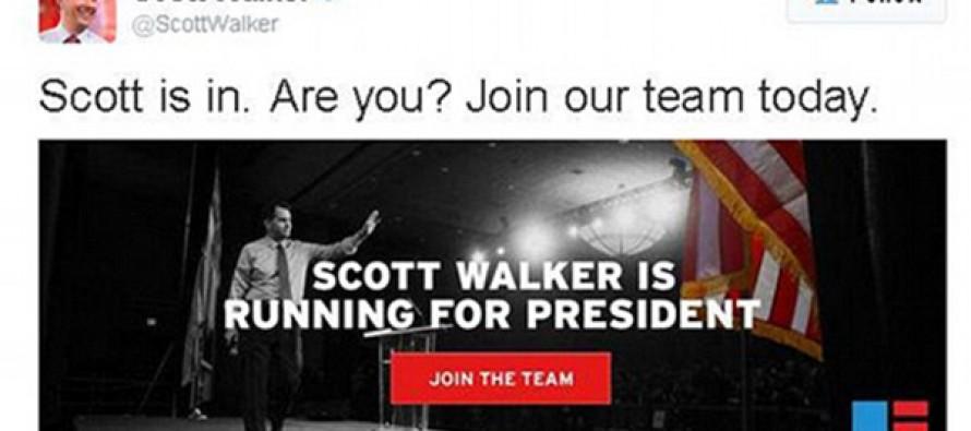 Scott Walker announces run for president after ACCIDENTALLY 'Twitter malfunction'