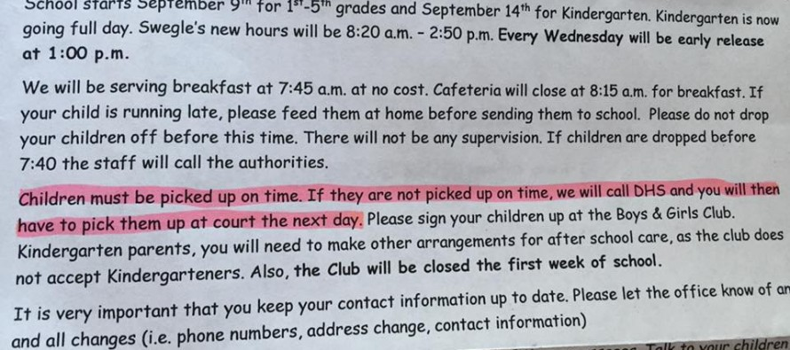 What this  School Is Doing to Kids Whose Parents Are Late Has Some Saying They are Crossing a Line
