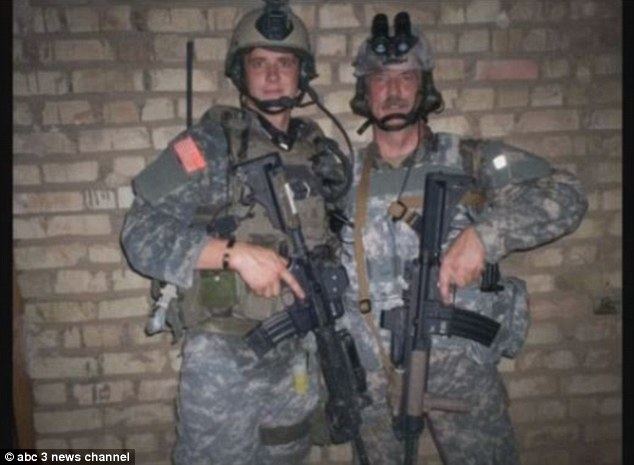 Battling adversity: Tim Brumit, pictured left, is a Special Forces soldier - just like his father Randy (right).