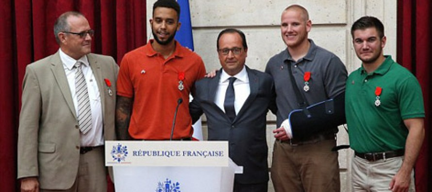 French President presents three Americans and a British grandfather with France's highest honour