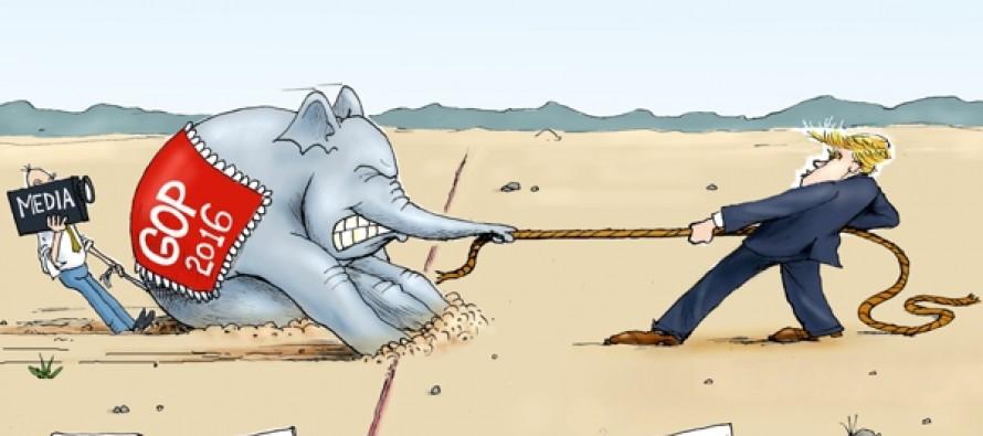 Trump Pulls Ahead (Cartoon)
