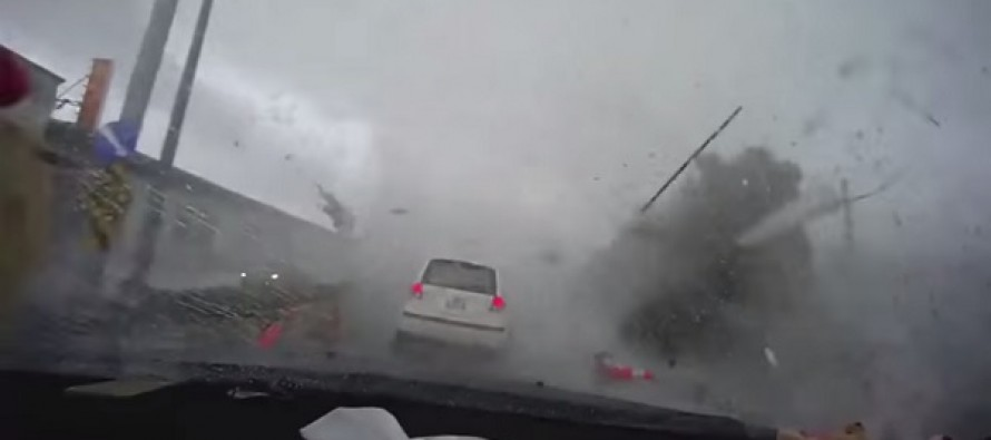 Disturbing Video: Frightening Moment A Car Gets Swept Away into a Tornado in Taiwan