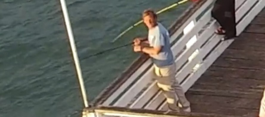 This Fisherman Seemed to Get Fed Up With a Drone Buzzing Around a Pier. Watch What Happens Next