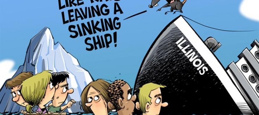 Illinois leaving a sinking ship (Cartoon)