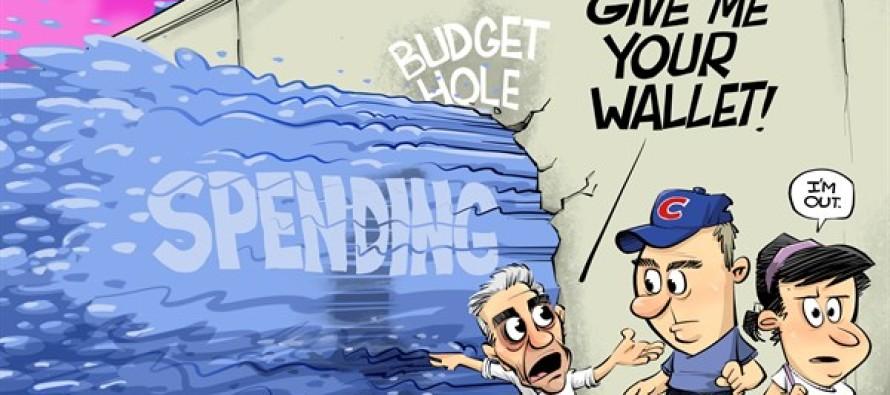 ILLINOIS Chicago budget hole (Cartoon)