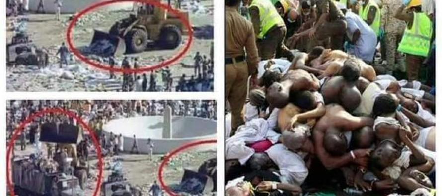 Just Horrific… Saudi Officials Bulldoze Dead Hajj Pilgrims and Pile Them Like Garbage