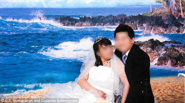 This 'sham' wedding photo was one of pictures investigated by the U.S. Immigration and Customs Enforcement.