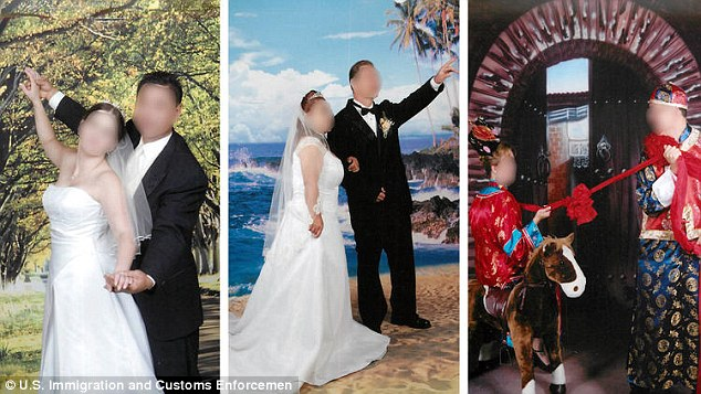 It is alleged that Jason Shiao, 65, and his daughter Lynn Leung, 43, would arrange fake wedding photos, including the ones above, and documentation for Chinese people seeking official immigration status.
