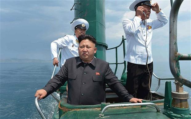 North Korean leader Kim Jong-un aboard a submarine Photo: Rodong Sinmun/EPA