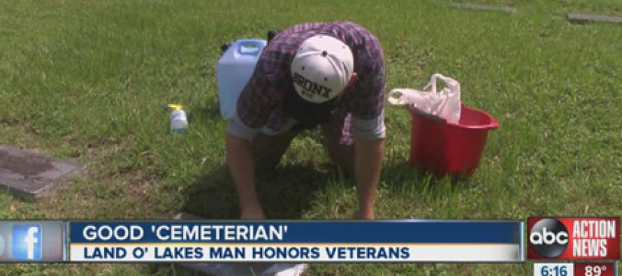 Cleaner scrubs veterans' grave stones at cemeteries his spare time