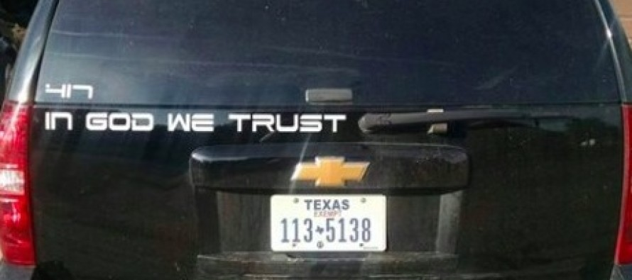Texas Police Chief's Absolutely Defiant, Four-Word Insult to Atheists Who Are Demanding That He Ban 'In God We Trust' Decals