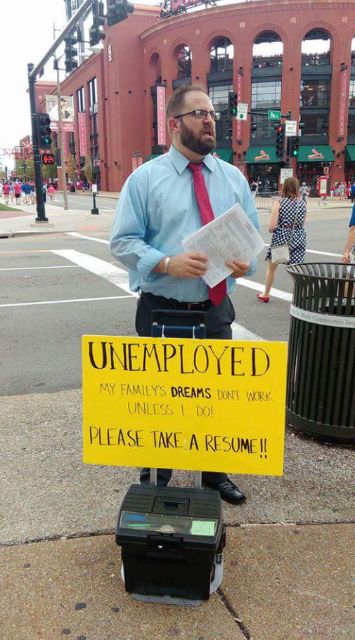 This man lost his job and is struggling to provide for his family. Today he was standing outside of Busch Stadium...