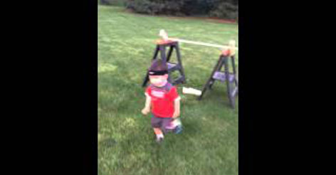 Dad Sets Up an Obstacle Course in the Backyard for an Adorable Reason