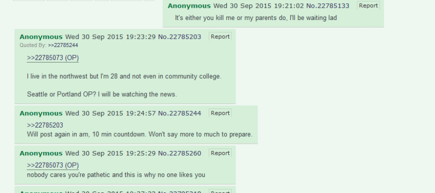 Umpqua College Shooter POSTED WARNING on 4chan Hours Before Attack & WAS ENCOURAGED TO KILL PEOPLE