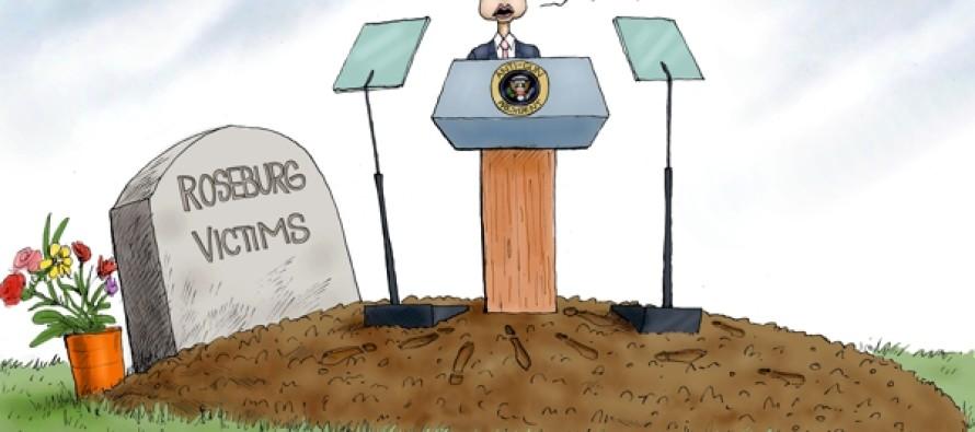 Obama At Roseburg (Cartoon)