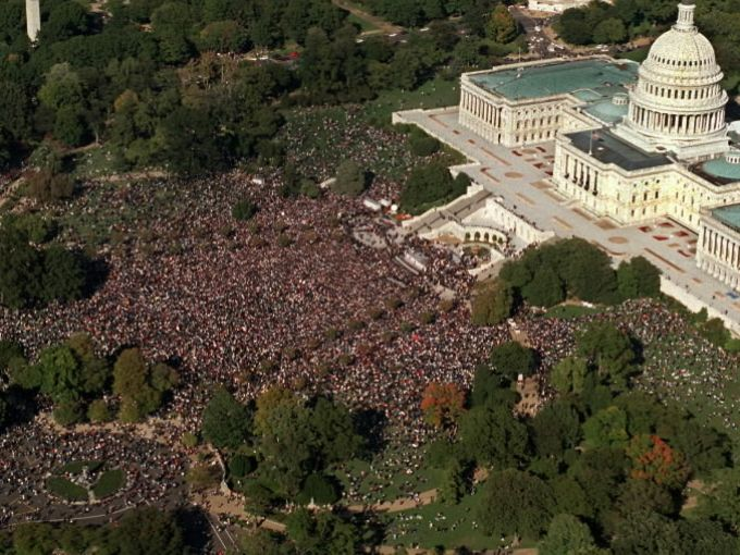 An aerial view of the U.S. Capitol on Monday Oct. 16, 1995, where the Million Man March took place. Hundreds of thousands of men, women and families participated in the largest assembly of black Americans since the 1963 March on Washington.  Charles Pereira, AP