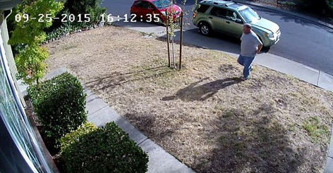Thief caught stealing a delivery package on CCTV is chased down by homeowner