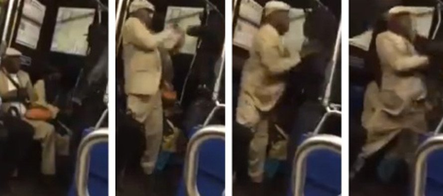 Video: Bystanders spring into action; protect elderly man from attack on city bus
