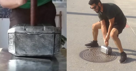 Genius makes homemade Thor's hammer only he can lift and then leaves it lying in the street