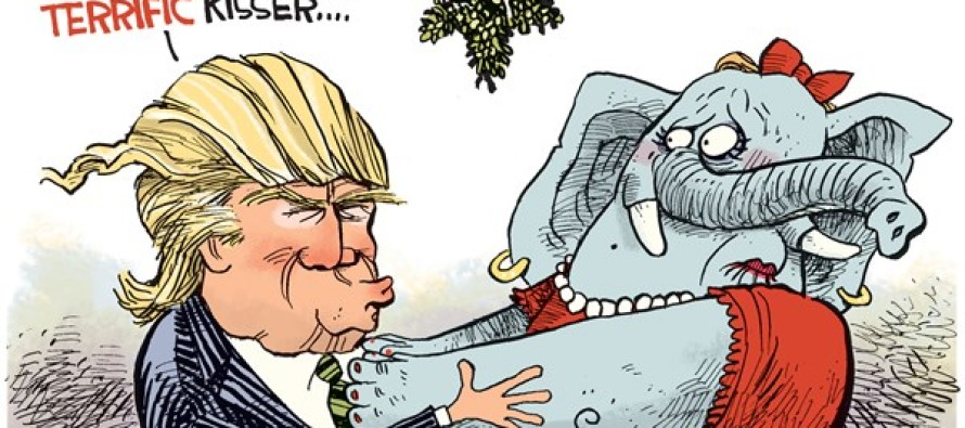 Trump Mistletoe (Cartoon)
