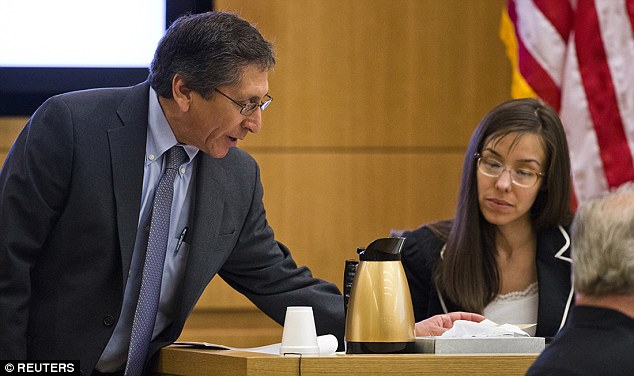 Revelations: Juan Martinez claims that Jodi Arias - who he is seen questioning during the cross-examination stage of her trial - avoided the death penalty partly because a juror was 'in love' with her.