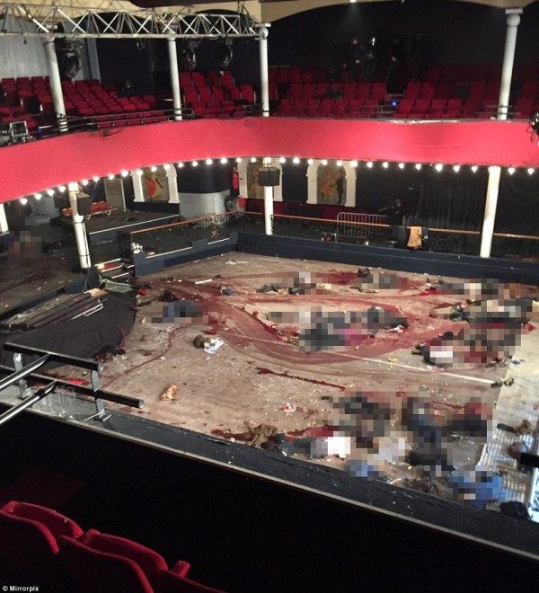 A photograph of the attack at the concert hall on Friday night reveals the bloody horror of what unfolded when terrorists opened fire on the crowd of concertgoers.
