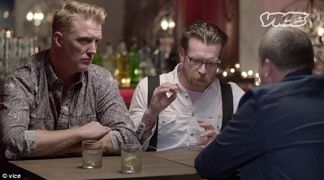The Eagles of Death Metal (Joshua Homme, left, and lead singer Jesse Hughes, center) have described the horror of the Bataclan concert hall massacre for the first time in an emotional interview.