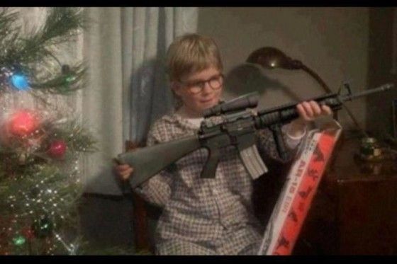 "A PhotoShop of ""Ralphie"" getting an AR-15 (instead of a Red Ryder BB gun) from the holiday classic, A Christmas Story. PhotoShop source unknown."