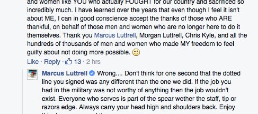 A Veteran Said He Often Doesn't Feel Worthy of Praise. THIS Is How Marcus Luttrell Responded