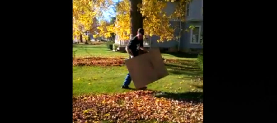 What This Man Does With Cardboard Will Change How You Rake Leaves Forever