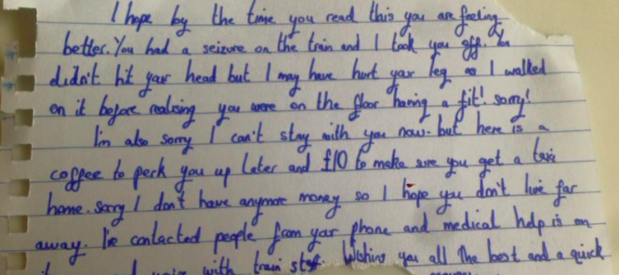 After Suffering a Seizure on the Train, Woman Wakes Up to Find THIS Note In Her Hand