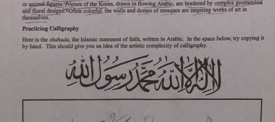 "Parents OUTRAGED To Learn Their Child's  Drawing Assignment Says ""There is No God But Allah"" In Arabic!"