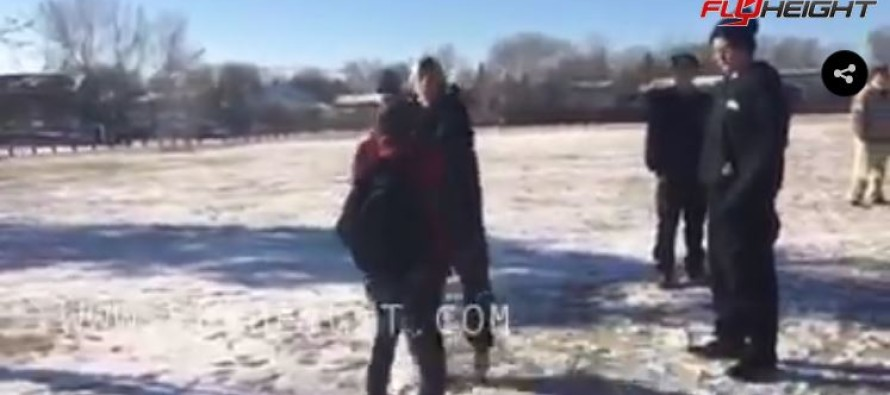 VIDEO: The Schoolyard Bully Who Gets Interrupted From Pummeling A Smaller Kid By Something Unexpected