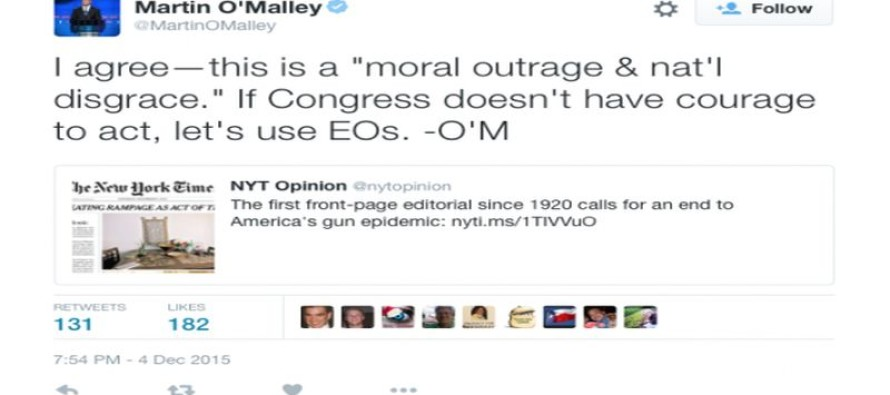 Democrat Presidential Candidate Martin O'Malley Calls For Confiscation Of Guns By Executive Order