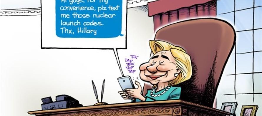 Hillary Handles Secrets (Cartoon)