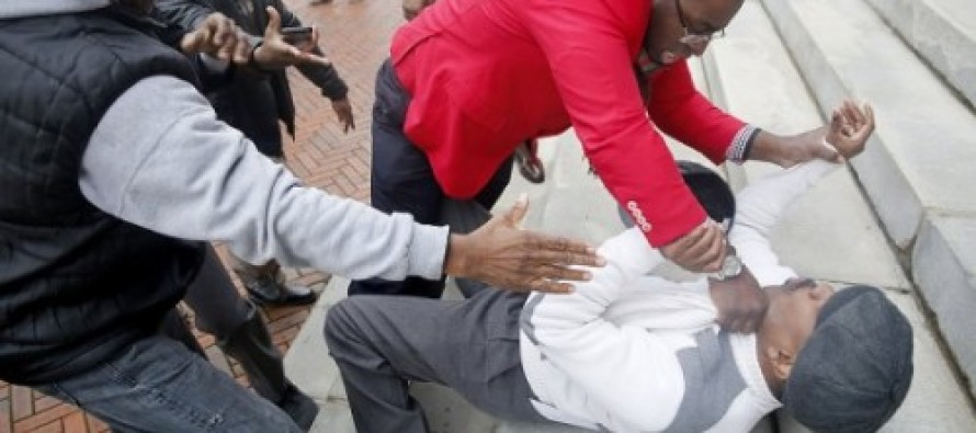 Fight Breaks Out Between Rival Liberal Anti-Violence Groups At Newark Rally
