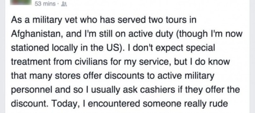 DISGUST! Soldier Describes What An Awful Woman Said To Him When He Asked For Military Discount